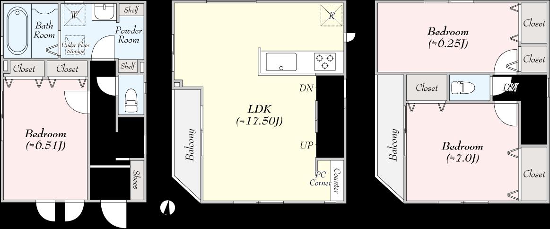 川崎市多摩区登戸 新築分譲住宅2号棟間取図